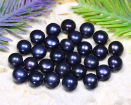 7.7mm 72.80Ct Natural Freshwater Black Pearl Drilled B0325