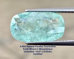 4.48Ct Paraiba  Tourmaline UNHEATED  - 14.67x8.43mm  / Certified