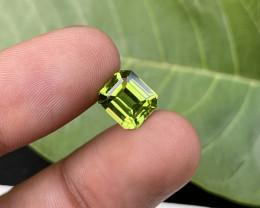 3.70 carats eye clean natural emerald cut peridot gemstone