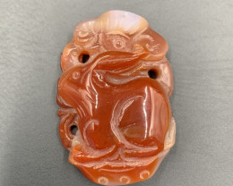 220.70 Cts Incredible Hand Carved Rabbit Carnelian Agate.
