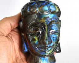 Genuine  2200.00  Cts  Amazing Flash Labradorite Carved Buddha Head