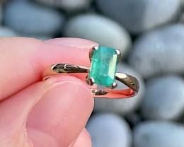 Emerald Ring 18K White Gold Diamond Engagement Ring N08R