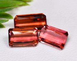 Tourmaline 4.17Ct 3Pcs Octagon Cut Natural Pink Tourmaline B0527