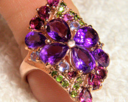 27.45 Tcw. Multi Gemstone / Sterling Silver / Rose Gold Plated Ring - Gorge