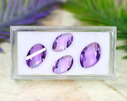 Amethyst 9.86Ct VVS 4Pcs Natural Bolivian Purple Amethyst Lot B0608