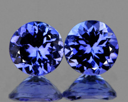 4.00 mm Round 2 pcs 0.62ct Purple Blue Tanzanite [VVS]
