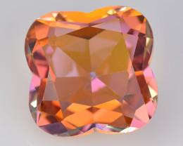 Azotic Topaz 12.54 Cts  Flower Cut Orange Multi Color Natural Gemstone