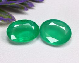 Muzo 3.71Ct 2Pcs Oval Cut Natural Colombian Green Muzo Emerald B0723