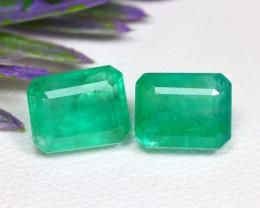 Muzo 3.47Ct 2Pcs Octagon Cut Natural Colombian Green Emerald C0701