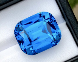 London Blue Color 29.40Ct Step Cushion Cut  Natural Topaz
