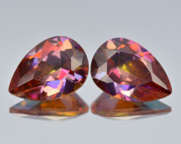 Azotic Topaz 6.69 Cts Fancy Siberian Sun Color Natural Gemstone- Pair