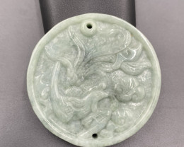 194 Cts Excellent Carved Beautiful Green Burmese Jade.