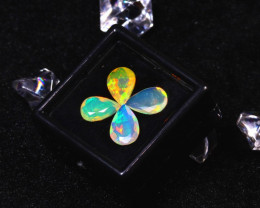 Welo Opal 3.50Ct 4Pcs Natural Faceted Ethiopian Play of Color Opal  ER675/A