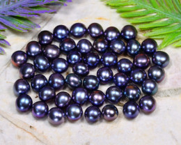 6.0mm 71.01Ct Natural Freshwater Black Color Pearl Drilled A1015