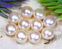9.0mm 38.41Ct Natural Freshwater White Color Pearl Drilled A1017