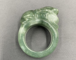 143.25 Cts Incredible Hand Carved Burmese Type-A Jade Ring. Jdt-421