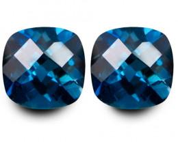 7.05Cts Sparkling Natural London Blue Topaz Cushion Checker Cut Pair