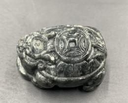 139.90 Cts Excellent Hand Carved Grey Color Burmese Jade. Jdg-583