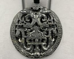 245.35 Cts Excellent Hand Carved Old Black Jade.