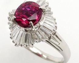 3.14ct NOT HEATED Burma Ruby and Diamonds Ring - Platin - Certified by IGI