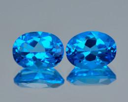 Super Swiss Blue Azotic Topaz 3.14 Cts 2Pcs Natural Gemstone-Pair