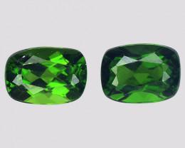 Diopside Gemstone 2.17 Cts 2 pcs Unheated Vivid Green Natural Gemstone