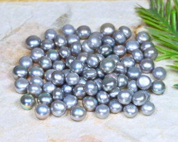 6.0mm 98.1Ct Natural Freshwater Grey Color Pearl Drilled A1203