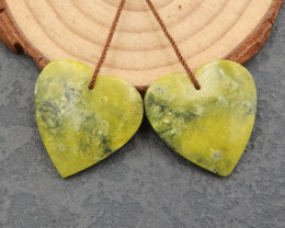 D2915 - 33.5cts New!Hand Carved Serpentine Heart Earrings Beads,Natural Ser