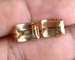7x9mm Citrine Pair Natural Emerald Cut Faceted Gemstone VA2626