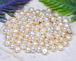 5.5mm 111.69Ct Natural Freshwater White Color Pearl Drilled B1410