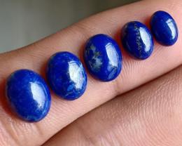 5 Pcs Lapis Lazuli 100% Natural + Untreated Cabochon Wholesale Lot VA2645