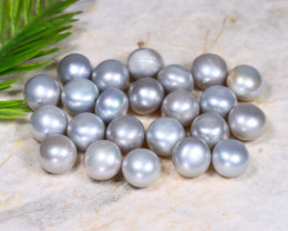 8.0mm 83.67Ct Natural Freshwater Grey Color Pearl Drilled C1406