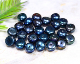 8.6mm 99.51Ct Natural Freshwater Black Color Pearl Drilled C1416