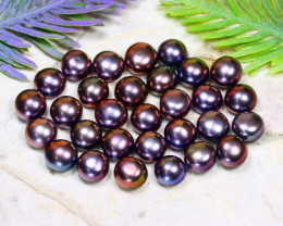 8.0mm 76.78Ct Natural Freshwater Black Color Pearl Drilled B1513