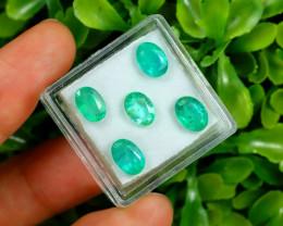 Zambian 4.94Ct 5Pcs Oval Cut Natural Green Zambian Emerald B1515