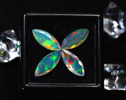 Welo Opal 2.80Ct 4Pcs Natural Faceted Ethiopian Play of Color Opal DR713/A4