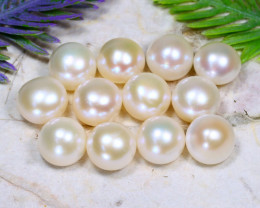 11.0mm 104Ct Natural Freshwater Half Dome White Pearl Drilled A1613