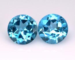 London Topaz  2.12 Cts 2Pcs Fancy Blue Color Natural Gemstone - Pair
