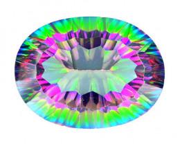 Mystic Topaz 19.02 Cts Millennium Cut Aurora Borealis Color Natural