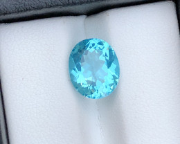 Rare Size ~ Ravishing Neon Blue Color 3.60 Ct Natural Apatite From Brazil