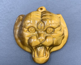 57.75 Cts Amazing Hand Carved Top Tiger Eye Tiger Head. Te-471