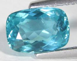 2.56Cts Genuine Fantastic Neon Blue Color Apatite Cushion Cut Loose Gem