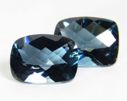 6.75Cts Sparkling Natural London Blue Topaz Cushion Checker Matching Pair