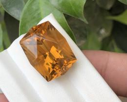 HGTL Certified 27.3 Carats Natural Citrine Nice Cut Gemstone