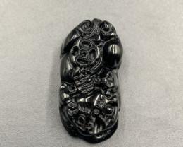 31.35 Cts Excellent Carving Black Obsidian. Boc-589