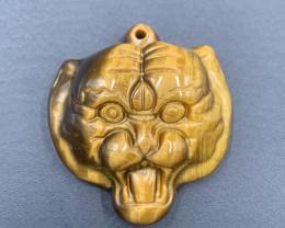 68.35 Cts Best Hand Carved Top Grade Tiger Eye Tiger Head. Tt-614