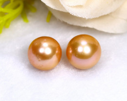 10.5mm 17.04Ct Natural 2 Pieces Oceania South Sea Orange Gold Pearl PE009
