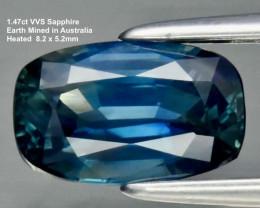 1.47ct VVS Sapphire - Cushion /  Heated  / 8.2x5.2mm