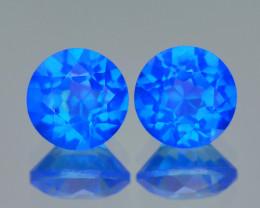 Super Swiss Azotic Topaz 1.35 Cts 2Pcs Fancy Blue Natural Gemstone -Pair