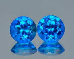 Super Swiss Azotic Topaz 1.94 Cts 2Pcs AAA Blue Natural Gemstone -Pair